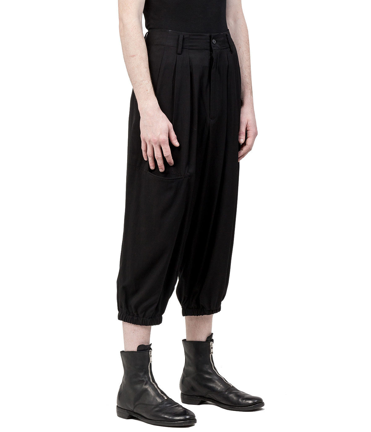 Black N-Panel Pocket Rayon Pants