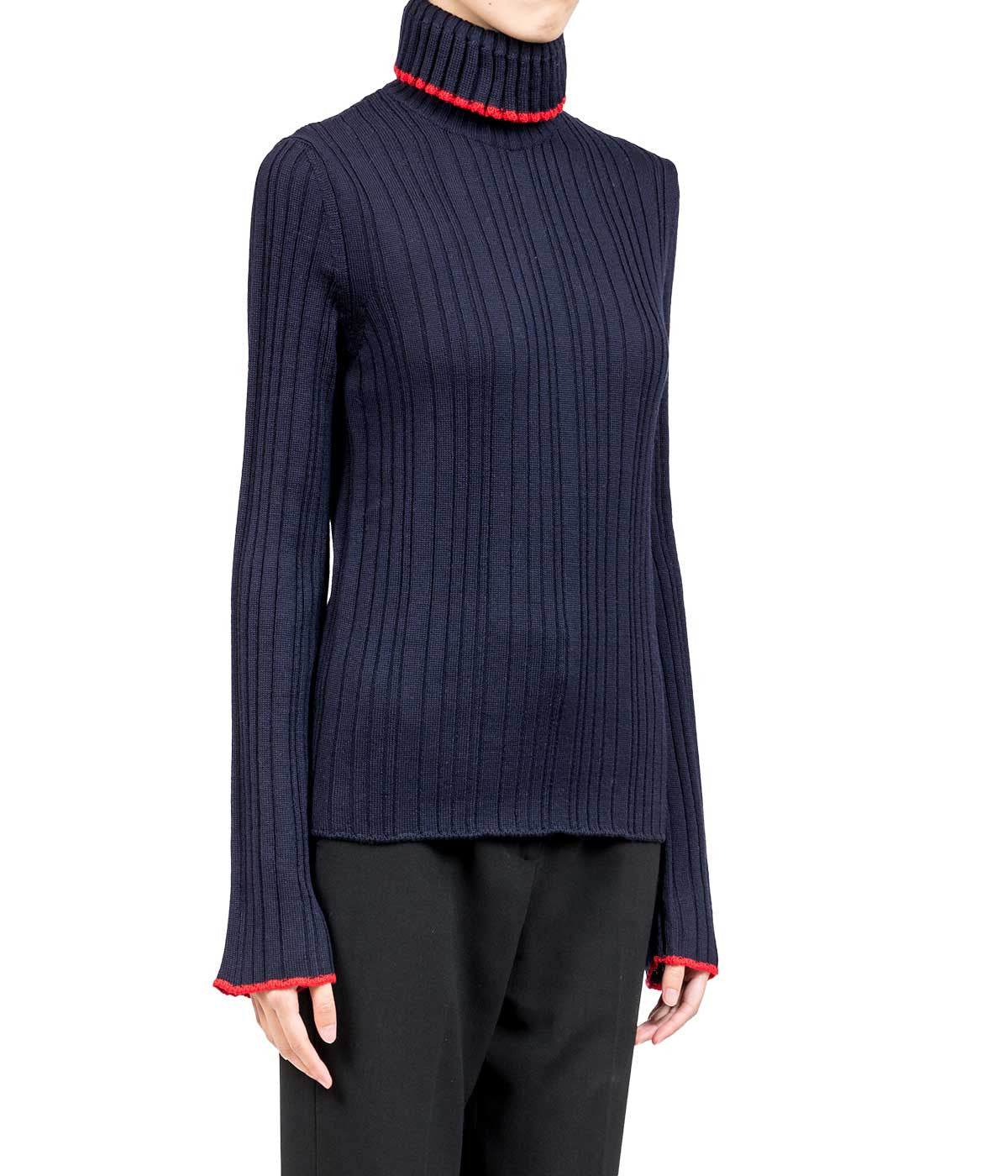 Navy Flared Rib Sweater