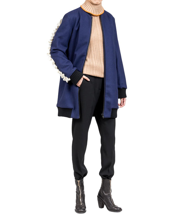 Navy Back Ruffle Bomber Jacket