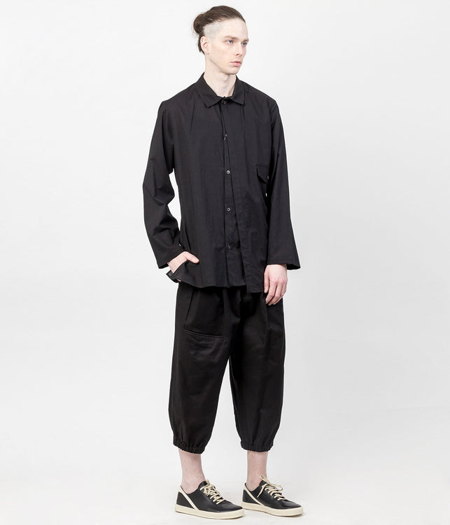 Black N-Panel Pocket Woven Cotton Pants