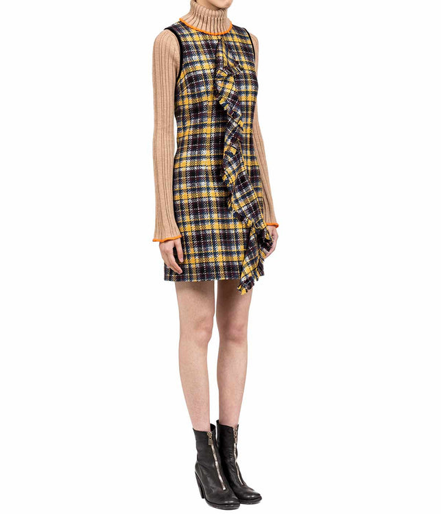 Mustard Yellow Checked Tweed Ruffle Dress