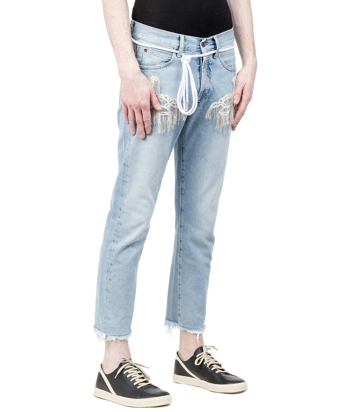 Light Blue Denim Embroidered Jeans