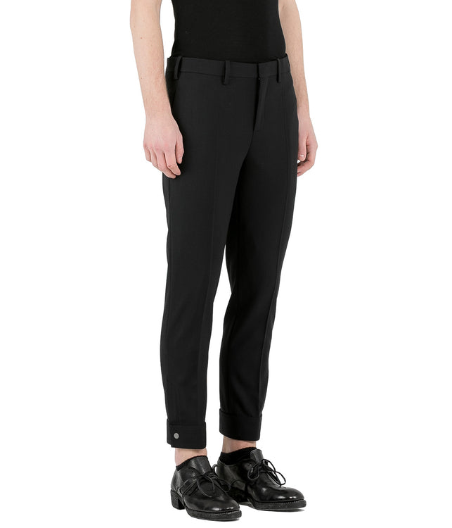 Black Cuff Tab Pants