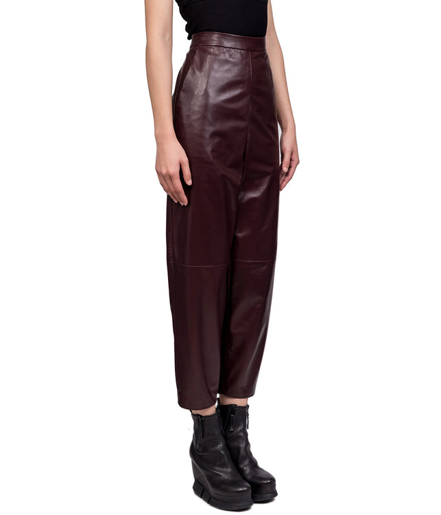Burgundy High-Waisted Leather Trousers