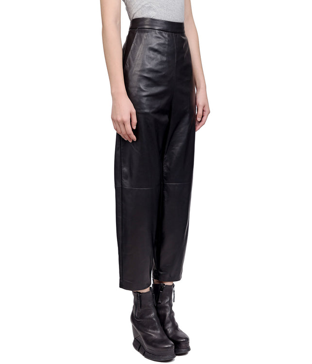 Black High-Waisted Leather Trousers