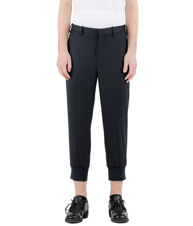 Navy Pin Striped Rib Cuff Pants