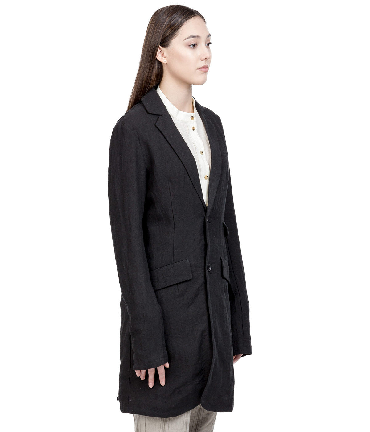 Black Long Linen Coat