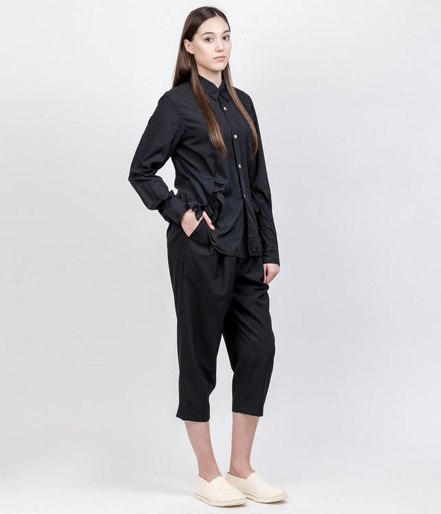 Black Pleated Wool Pants