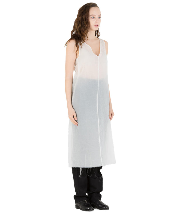 White Minimal Evening Silk Dress