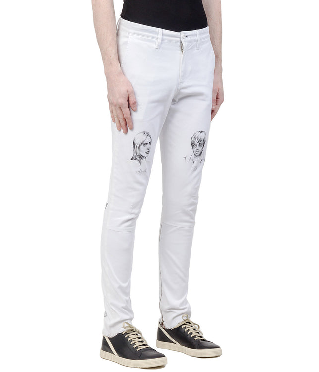White Illustrated Denim Jeans