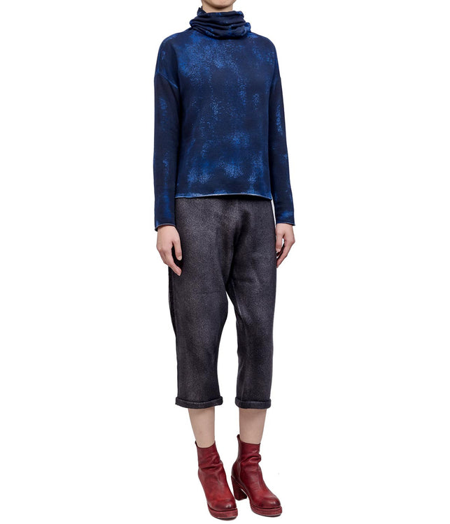 Mixed Indigo Turtleneck Sweatshirt