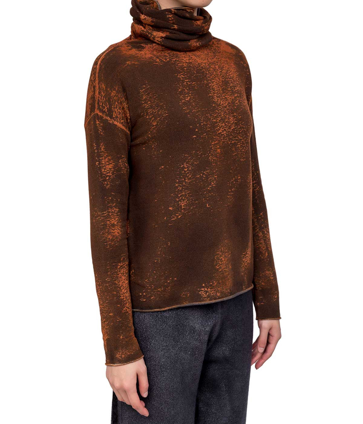 Mixed Orange Turtleneck Sweatshirt