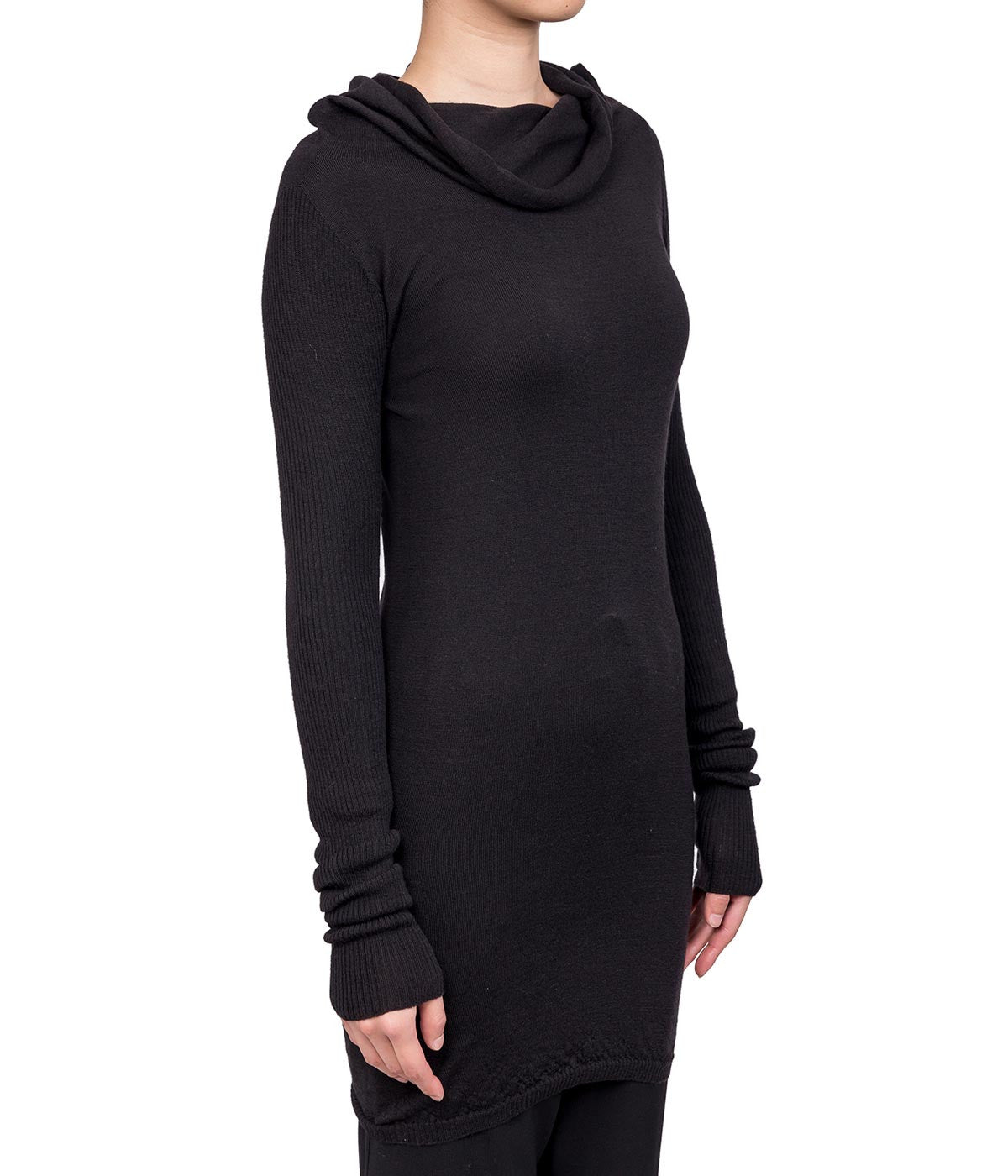 Black Draped Neckline Lightweight Sweater