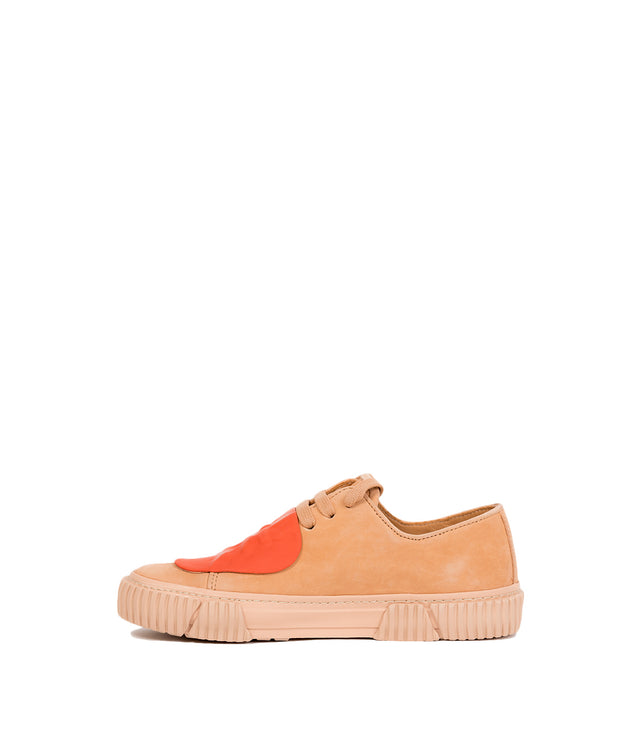 Nude & Orange Two-Tone Patch Sneakers