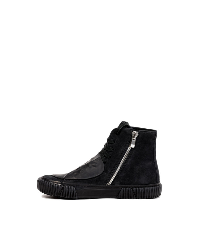 Black High-Top Patch Sneakers