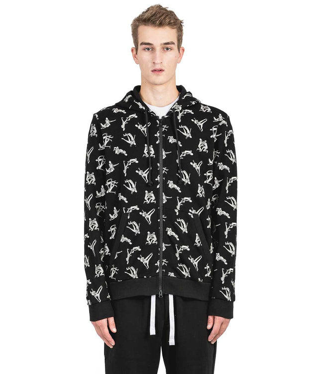 Black Alien Zip-Up Hoodie