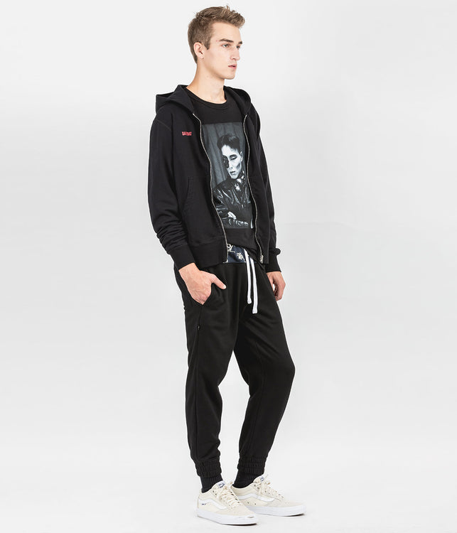 Black Graphic Zip-Up Hoodie