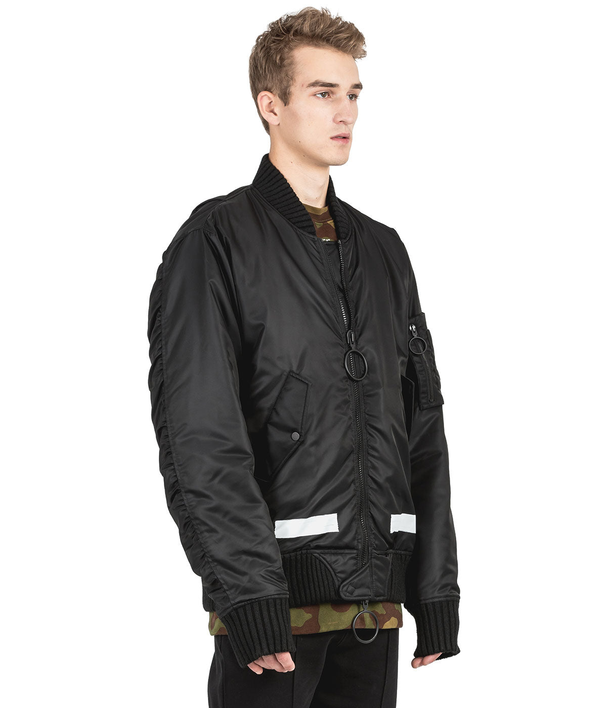 Black Brushed Bomber Jacket