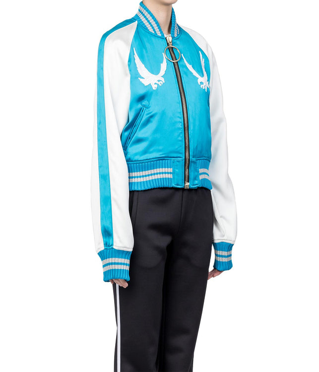Aqua Blue Embroidered Souvenir Jacket