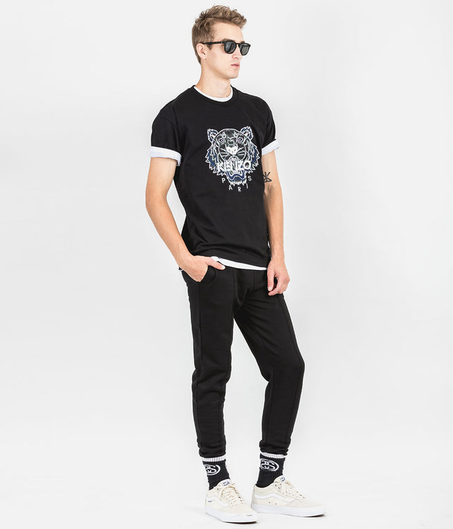 Black  Embroidered Tiger T-Shirt