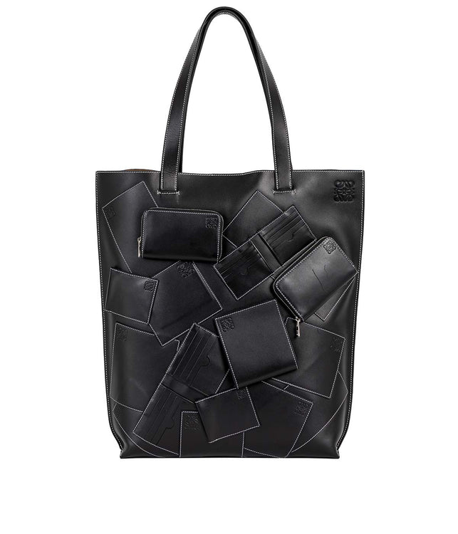 Black Wallet Patched Vertical Tote Bag