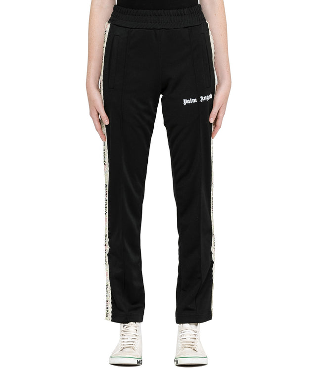 Black Floral Tape Track Pants