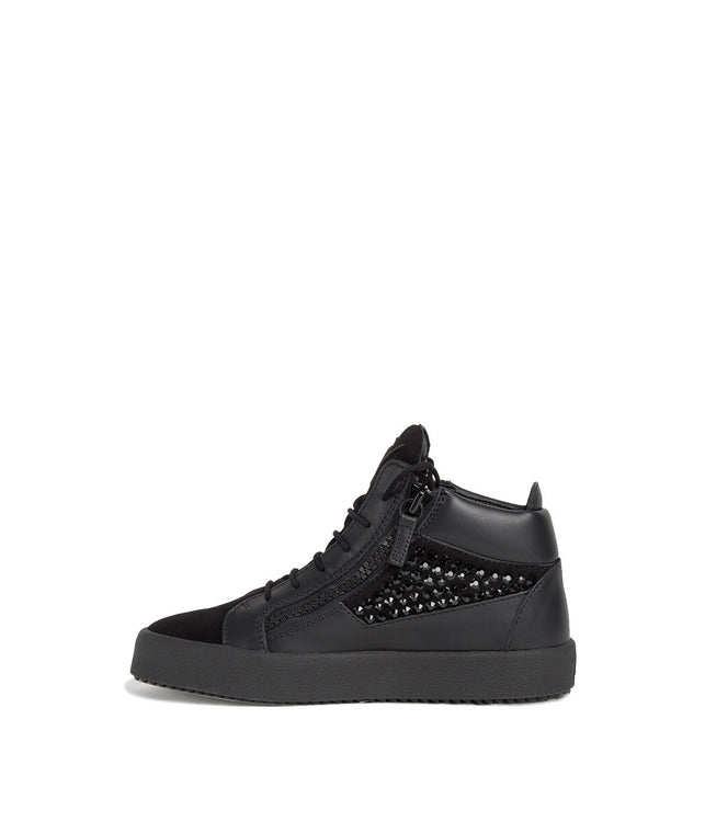 Black High Top Jewelled Sneakers