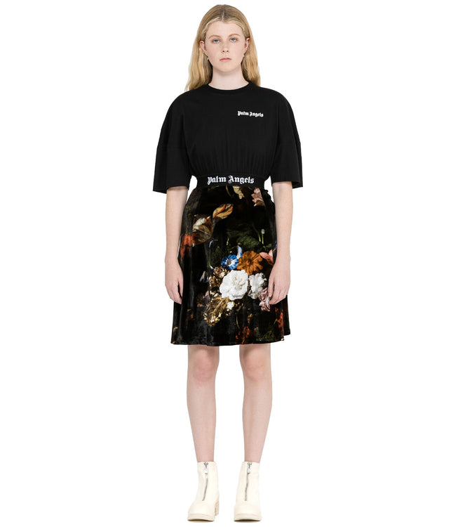 Black Macro Flower T-Shirt Dress