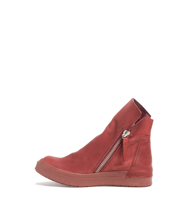 Burgundy Pink Side Zip Boots