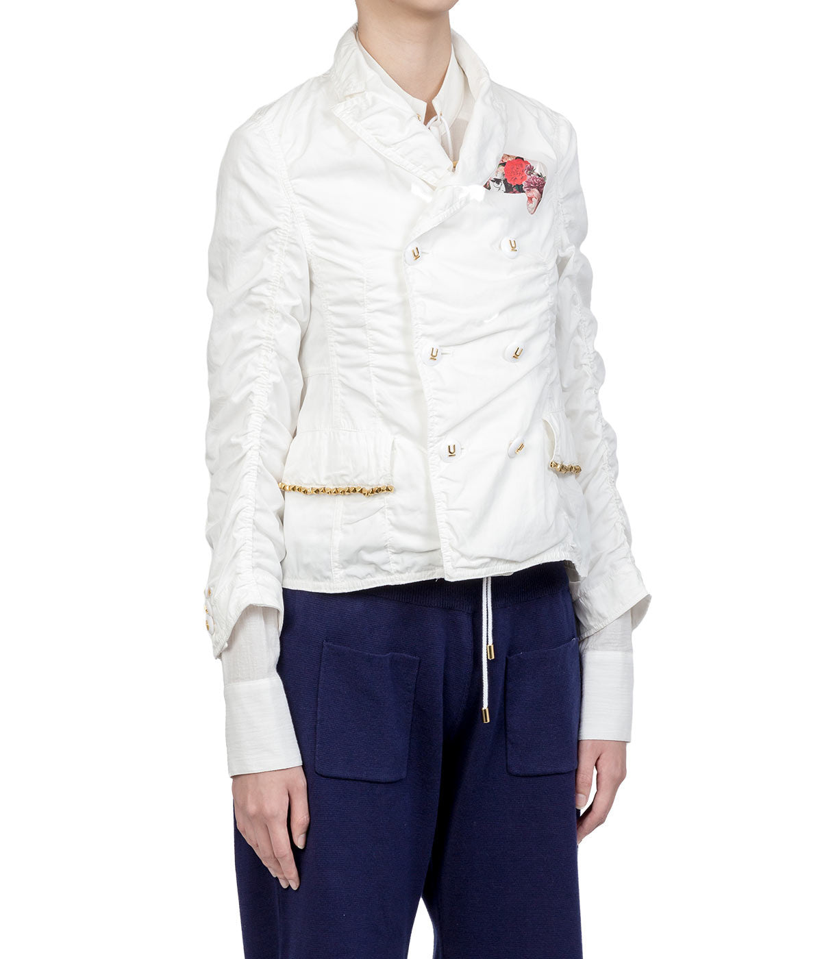 White Cut-out Double Breast Jacket