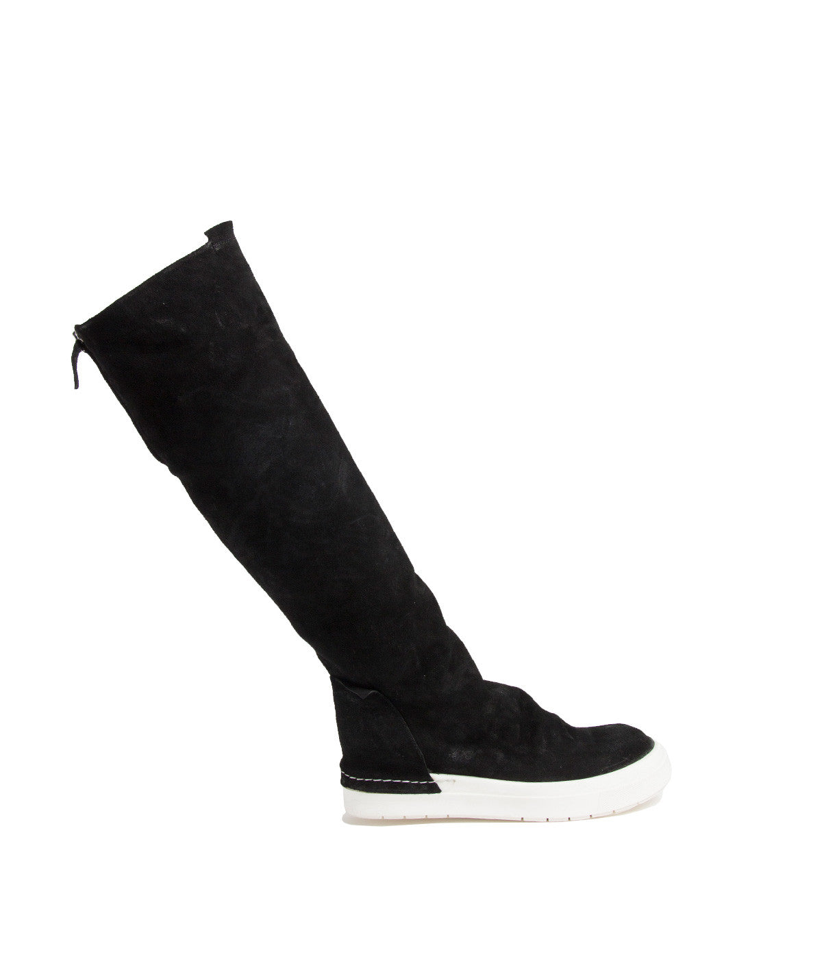 Black Suede Thigh Length Sneaker Boots