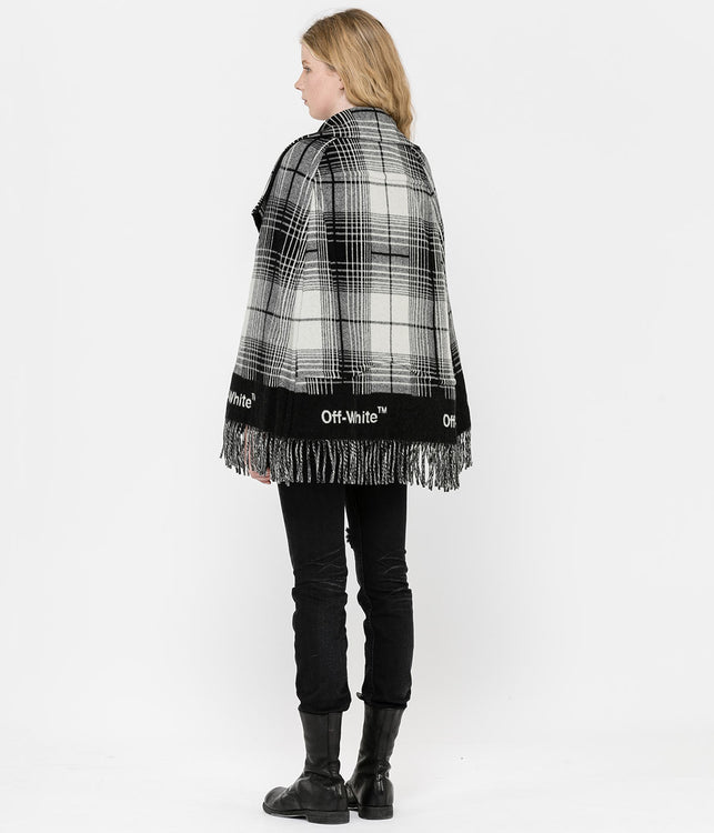 Black Check Blanket Cape
