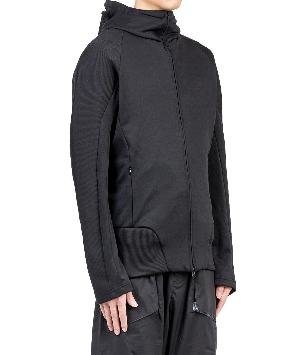 Black Wired Zip-Up Hoodie