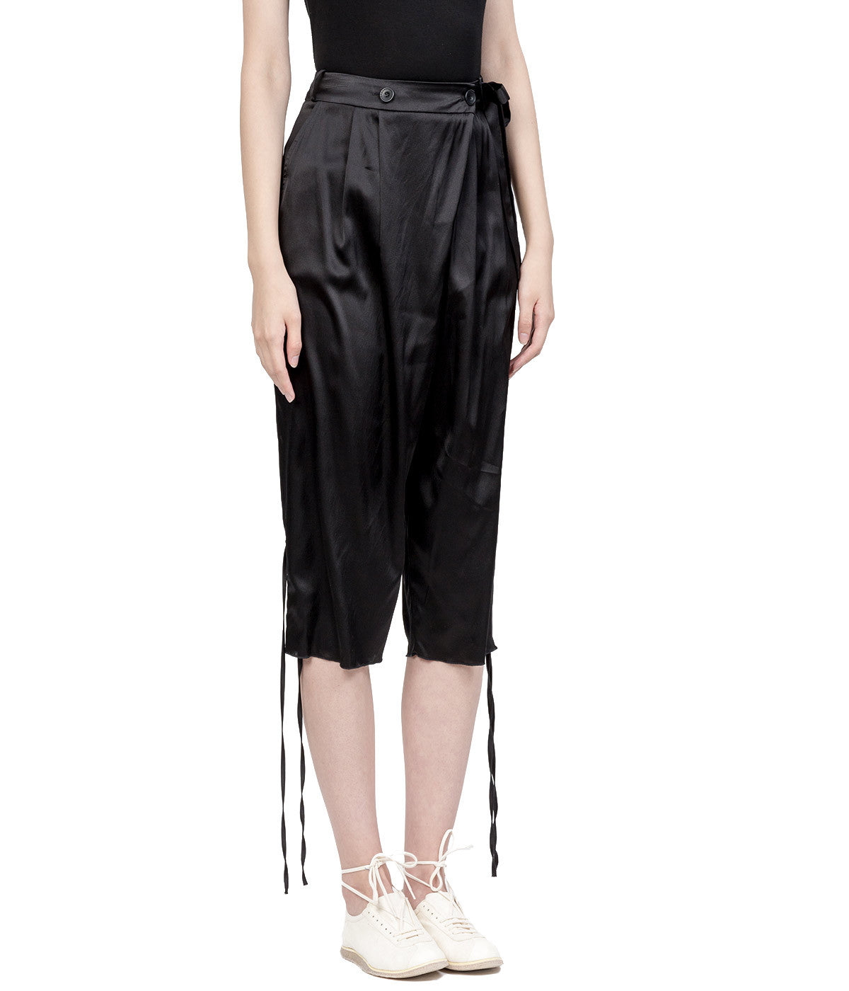 Black Silk Self-Tie Pants