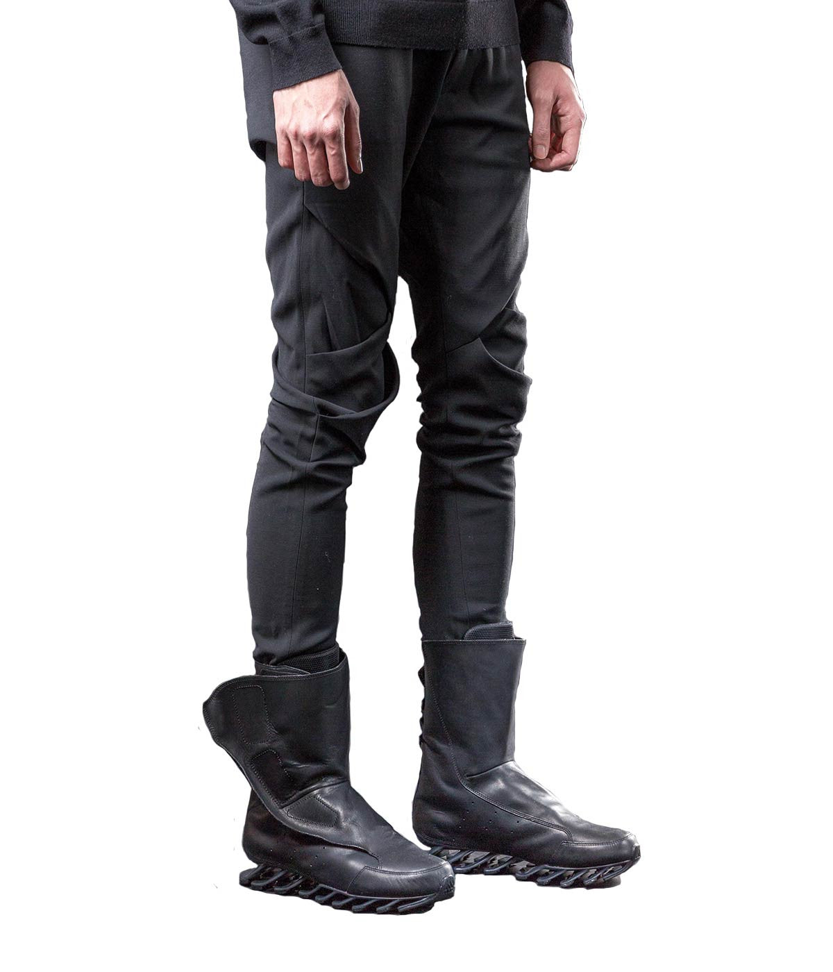 Folded Knee Slim Trousers