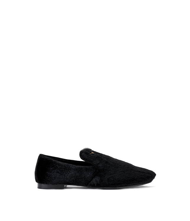 Black Fur Trimmed Loafers
