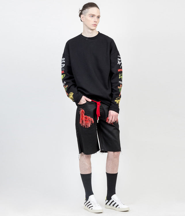 Black Graphic Pullover Sweatshirt