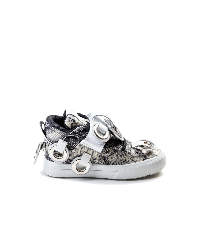 Faux Snakeskin High-Top Sneakers