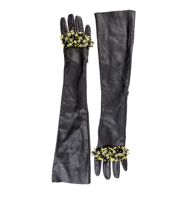 Black Flower Embellished Gloves