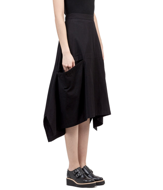 Black S-Front Panel A Lined Skirt