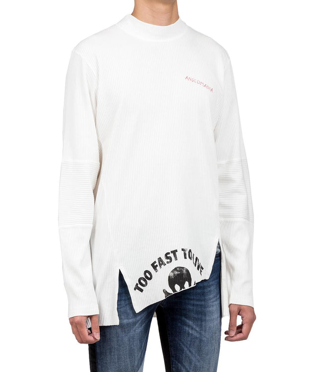 White Ribbed Long Sleeve T-shirt
