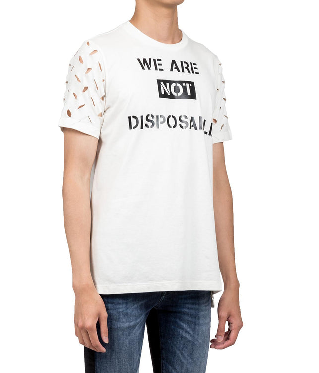 White We Are Not Disposable T-shirt