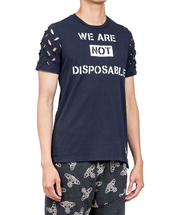 Navy We Are Not Disposable T-shirt
