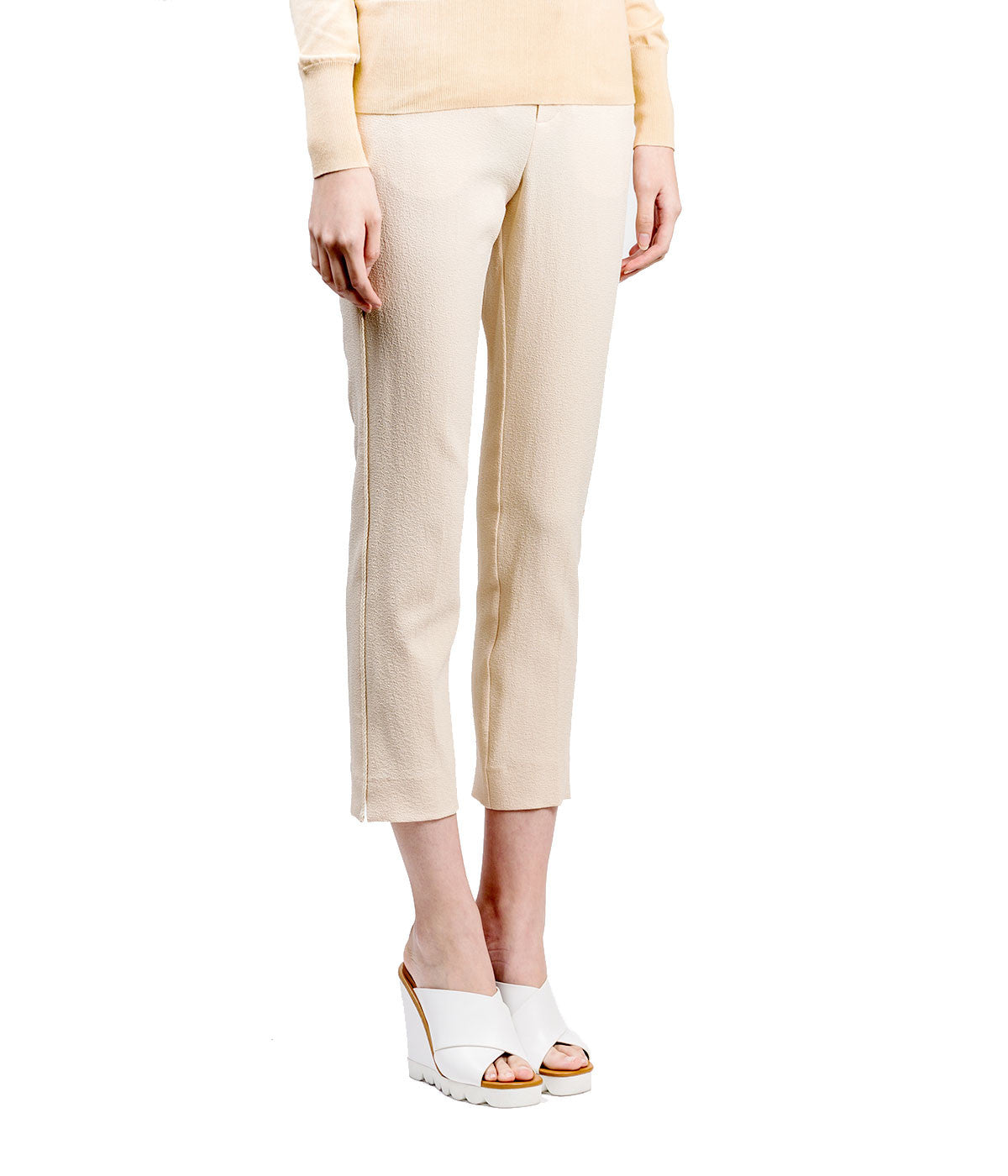 Crepe Trousers with Braided Rope Detail