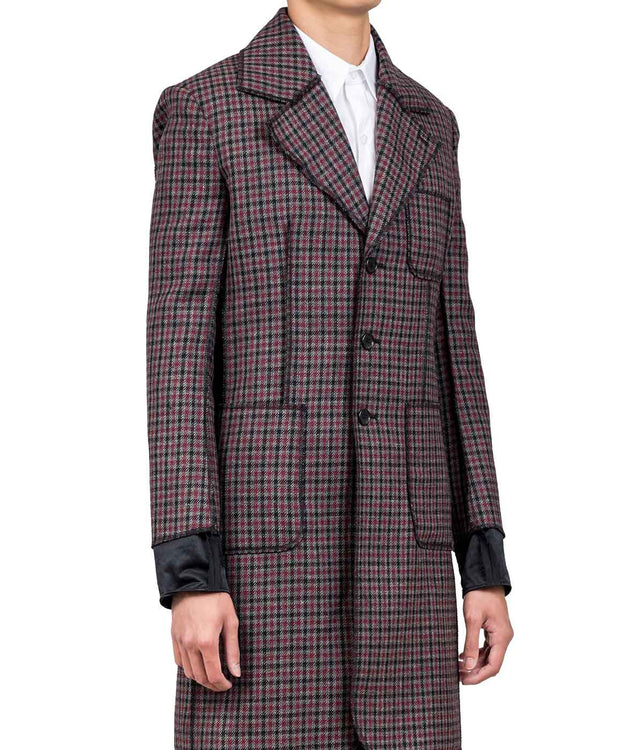 Red & Grey & Navy Checked Lightweight Coat