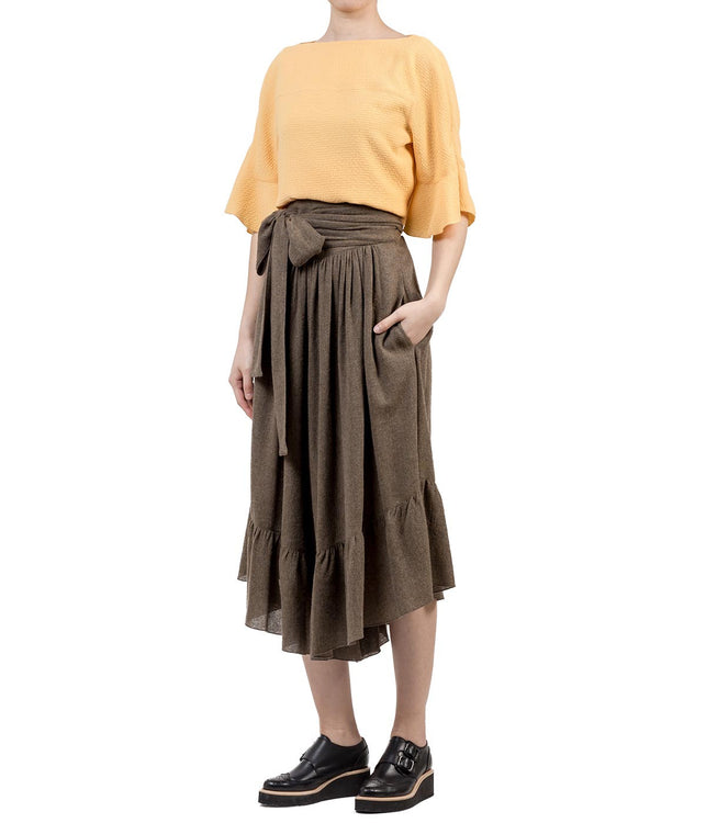 Brown Ribbon-Wrapped Palazzo Pants