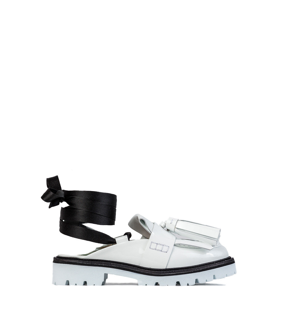 White Tassel Loafer Sandals