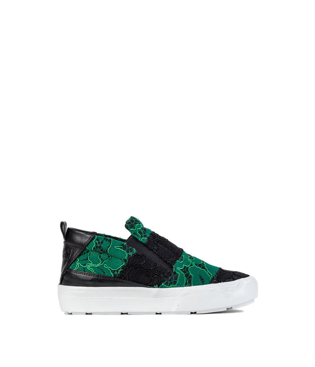 Black Alençon Lace Slip-On Sneakers