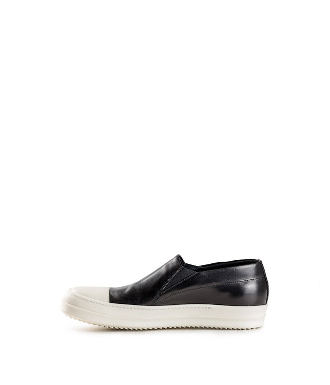 Black Leather Boat Slip-On Sneakers