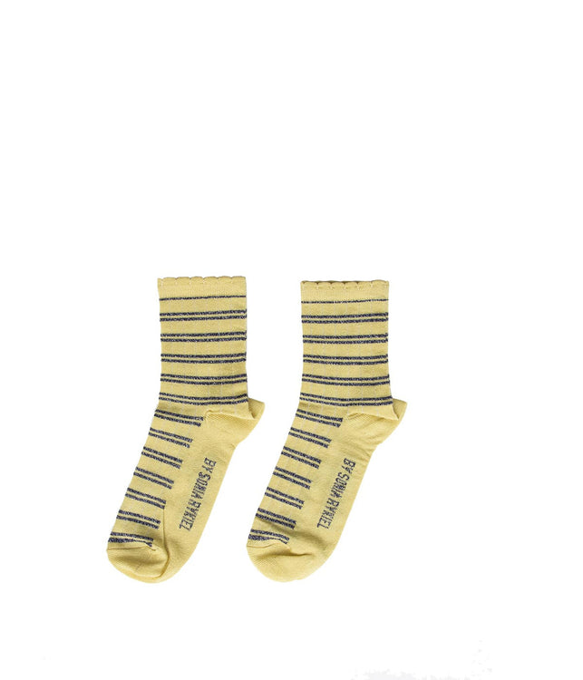 Metallic Yellow Striped Socks